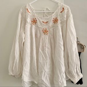 Free People Secret Garden Flowy Boho Blouse SZ L